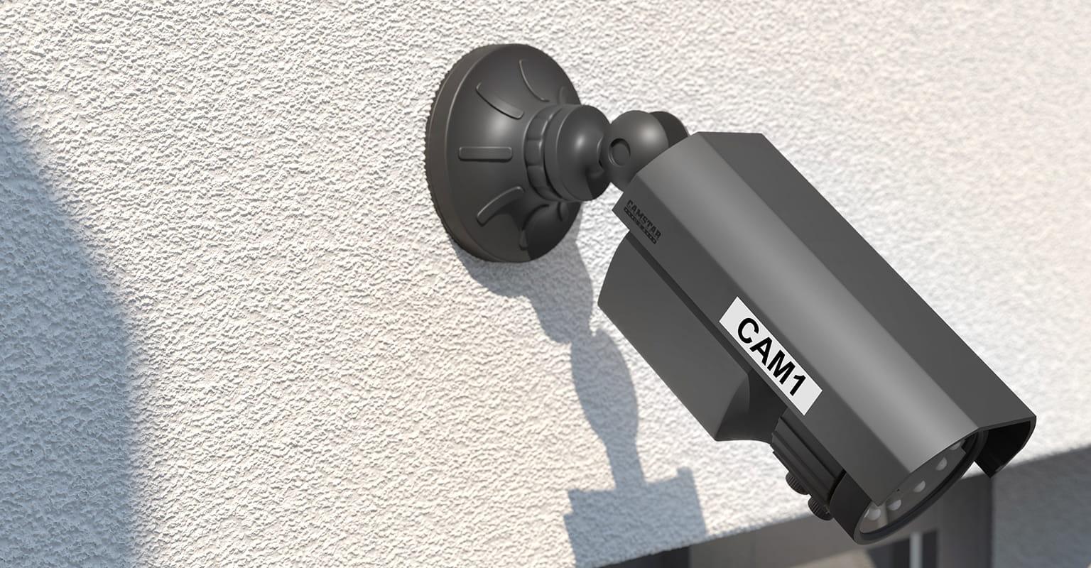 CTV sigurnosna kamera identificirana s Brother P-touch postojanom naljepnicom