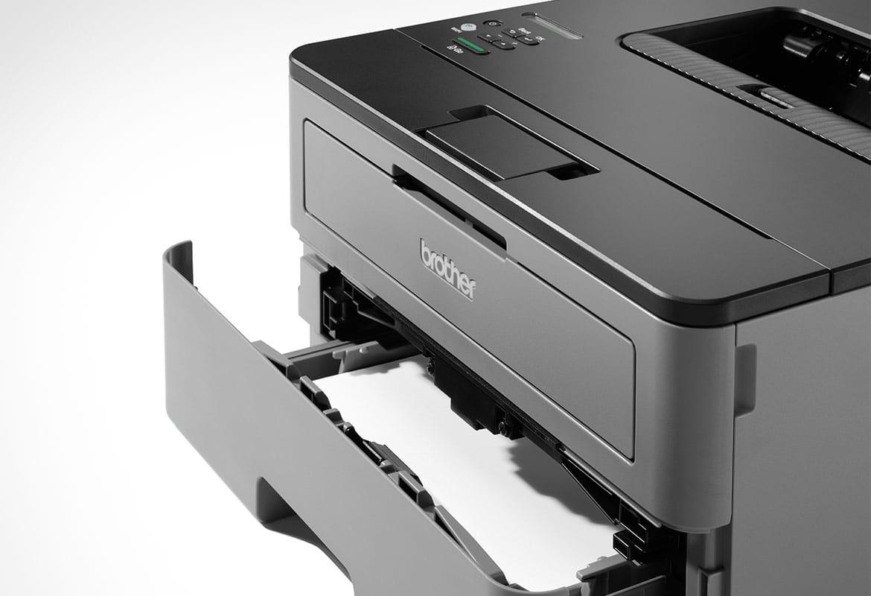 HL-L2350DW crno-bijeli laserski pisač s otvorenom ladicom za papir - pogled izbliza