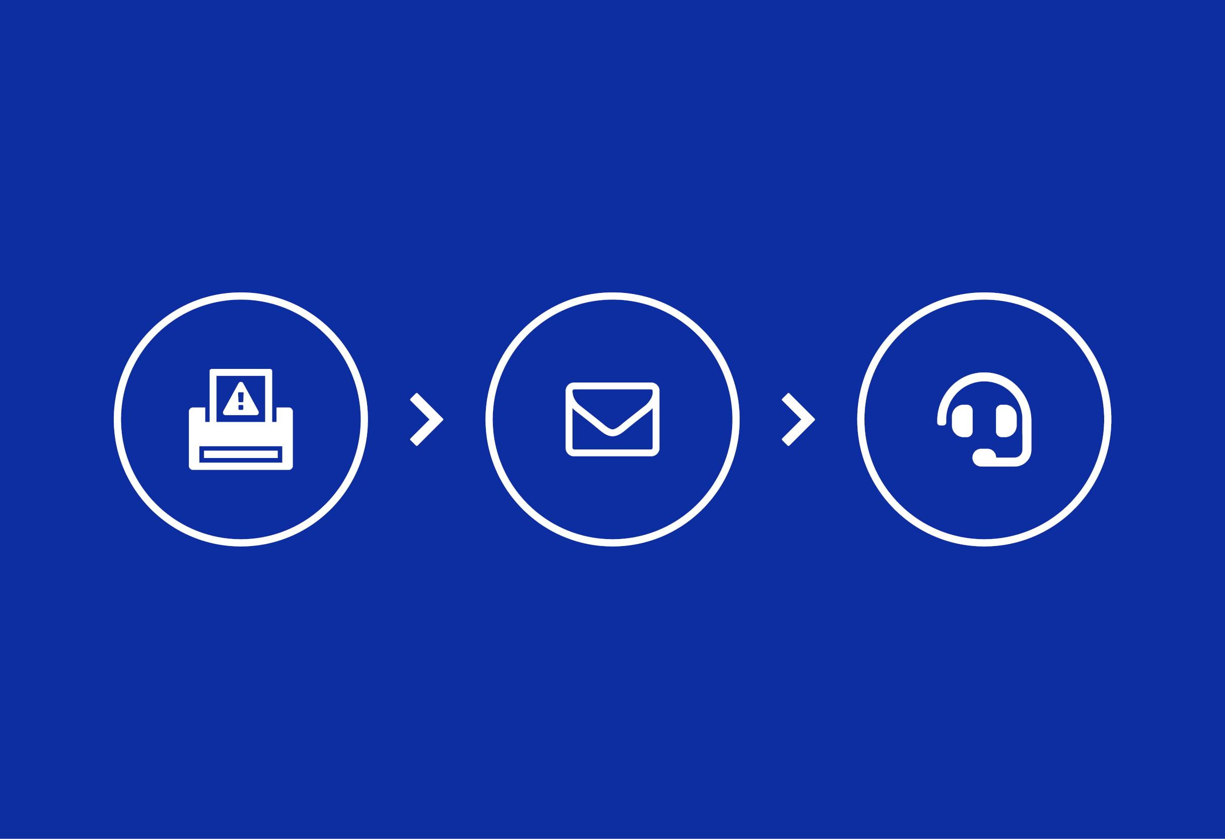 Ikona pisača ikona e-pošte ikona ključa za matice