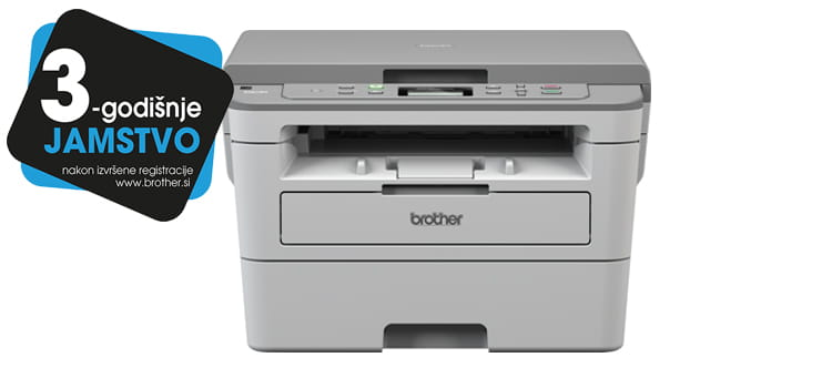 DCP-B7520DW printer with 3 years warranty sticker