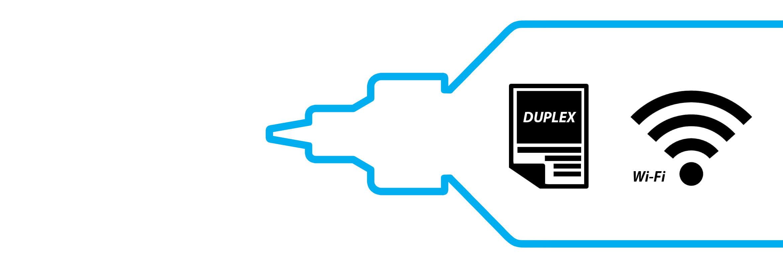 Okvir cijan bočice tinte Brother InkBenefit Plus s simbolom za obostrani ispis i wifi