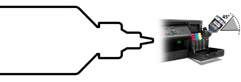 Okvir crne bočice tinte Brother InkBenefit Plus sa slikom pisača i crnom bočicom