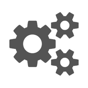 Siva ikona triju zupčanika na bijeloj pozadini