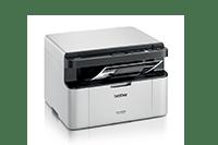 DCP-1623WE crno-bijeli laserski višenamjenski uređaj za ispis, kopiranje i skeniranje, okrenut prema desno s ispisanim dokumentom